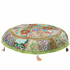 """22"""" Indian Ethnic Round Patchwork Embroidered Cotton Green Floor Cushion Cover"""