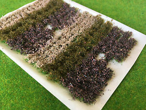 Brown Flowers & Bushes Mix - Static Grass Tuft Model Scenery Railway Forest wood