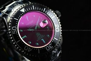 Invicta 54mm Grand Diver Sunray Automatic Purple Tinted Crystal Black SS Watch