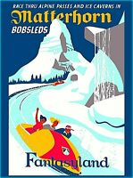 Anaheim Disneyland the Matterhorn Bobsleds California Vintage Travel Poster