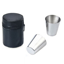 6 Pieces 30ML Cups Bowls Stainless Steel Set Wine Beer Mugs + Leather Cover