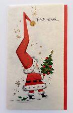 Vintage Greeting Card Santa Claus Christmas Tree Gold Snowflake Bell Present EUC