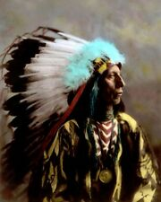"JACK RED CLOUD OGLALA LAKOTA SIOUX 1904 8x10"" HAND COLOR TINTED PHOTOGRAPH"