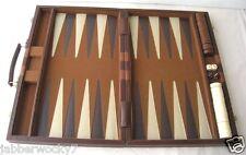 VTG Backgammon Set Attache Case with Brown & Cream checker sets