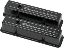 BILLET SPECIALTIES CHEVROLET SCRIPT BLACK ALUMINUM SBC TALL VALVE COVERS,CHEVY