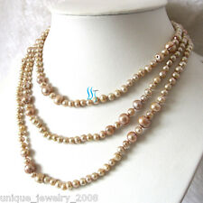 "Pearl Necklace Strand Hd 52"" 4-9mm Champagne Freshwater"