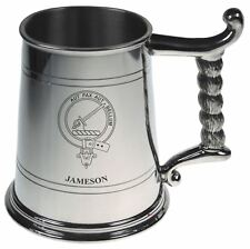 Jameson Crest Tankard with Rope Handle in Polished Pewter 1 Pint Capacity