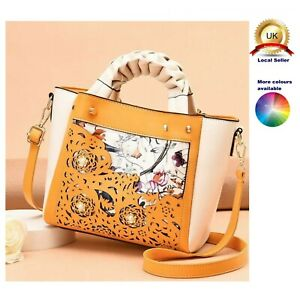 Small Tote Shoulder Commuting Handbag Lovely Woman Faux Leather Laser Cut Bag