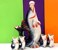 Fish Decanter majolica vintage Russian porcelain figurine jug and 4 glasses