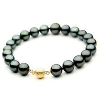 Pacific Pearls® 10-12mm Tahitian Black Pearl Gold Bracelet Office Wear Jewellery