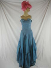 Vtg 40s 50s Blue Womens Vintage Evening Gown Strapless Party Dress W 26