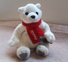 """Coca-Cola Plush Polar Bear with Red Scarf & Coke Bottle - 4"""" H, pre-owned, cute"""