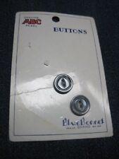 ANTIQUE/VINTAGE BLUE BONNET PARTIAL CARD SILVERY GREY CATS EYE  BUTTON QTY 2