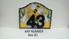 Bee House Number Plate Door Sign Plaque Any Number Coloured Glass Mosaic