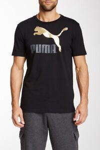 Puma Metal Logo T-Shirt Black/Metallic Gold Men's Medium BNWT FAST FREE SHIPPING