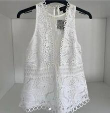 TOPSHOP white lace & crochet peplum top. size 10. BNWT