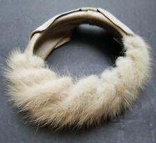 Vintage Mink Fur Headband Hat with Fabric Bow 1950's