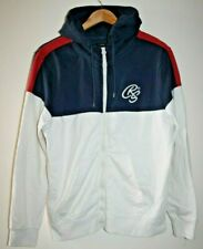 Crosshatch Adult's Unisex White Navy Full Zip Hooded Sweat Hoodie Size Large