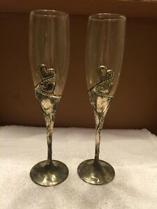 Pair Of Glass With Silver Plated Stems Champagne Flutes