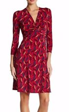 Anne Klein Manzanita Combo Printed Twisted Knot Front Stretch Jersey Dress