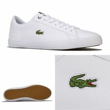 Mens Lacoste Lerond 418 Cushioned Low Profile Leather Trainers In White