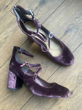 Sam Edelman Worn Once Purple Velvet Multi Buckle Mary Janes 5 38 US 7.5