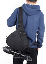 DSLR SLR Digital Sling Camera Case Shoulder Bag Backpack For Nikon Canon Black