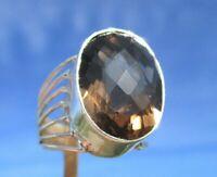 Rauchquarz - Ring Gr. 18 Silber 925 !