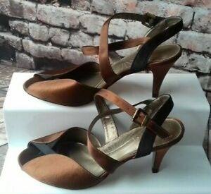 monsoon brown fabric mid heel shoes size 5 (38)