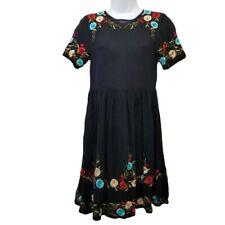 ASOS 0 Black Embroidered Dress Floral Sheer Exposed Zipper Swing Skater