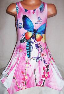 GIRLS PINK TYE DYE BUTTERFLY PRINT LACE TRIM RAG HEM SPORTY PARTY DRESS age 3-4