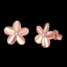 Women's Lovely Rose Gold Plated Crystal Small Flower Ear Stud Earrings Solid hs