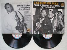"""2 LP 33T CHARLIE PARKER, MILES DAVIS, DIZZY GILLESPIE """"3 géants du jazz"""" DP 08 §"""