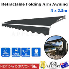 Retractable Outdoor Folding Arm Awning Sunshade Canopy 3 x 2.5m Hand Crank
