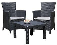 3tlg. Rattan Lounge Sitzgruppe Miami Garnitur Gartenmöbel Essgruppe Sessel Set