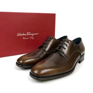 "NEW!! Salvatore Ferragamo ""Daniel"" Madera Moro Brown Derby Lace Up Shoes Size 9E"