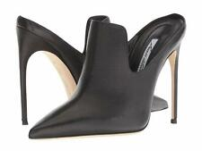Brian Atwood Laisom Black leather Pointed Toe Mule Pumps Black Tumbled Calf