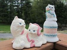 Vintage Ceramic Of House Lloyd '89 2 Persian Cat Figurine White Kitten Bell