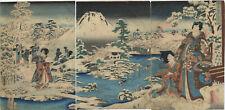 UW»Estampe japonaise originale triptyque -  Toyokuni III et Hiroshige II  - 14