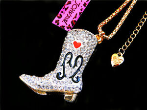 Betsey Johnson Heart Crystal Enamel White Boot Shoe Pendant Necklace Chain