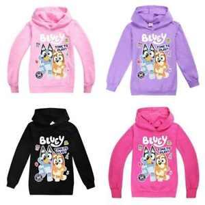 BLUEY Top Cartoons Kids Hoodie Boys Girls Long Sleeve Hooded Pullover Casual Top