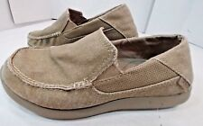 Crocs Slip On Khaki Tan Brown Canvas Loafer Boat Deck Comfy Casual Shoes Mens 8M