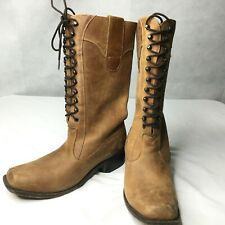 Steam Punk Sz 10 B Brown Tobacco Distressed Leather Combat Boots 11 Eye Hooks