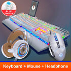 Illuminated keyboard with mobile phone holder + Mouse + headset,WHITE