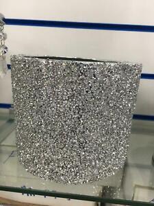 New Silver Crushed Crystal Filled Ceramic Vase Pot Sparkle Bling UK