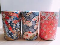 Japanese style steel can Tea Green tea Tin Jar Container traditional style