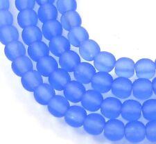 100 Czech Frosted Sea Glass Round Beads - Matte - Sapphire 4mm