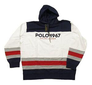 Polo Ralph Lauren Big & Tall White Multi Colorblock Polo 1967 Fleece Hoodie