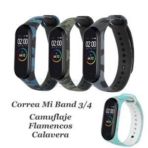 Correa para reloj Xiaomi Mi Band 3 4 Camuflaje Calavera Flamecos de Silicona