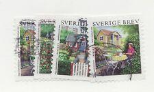 SWEDEN SVERIGE Sc#2511 a-d Θ used postage stamp set 2007 architecture gardens